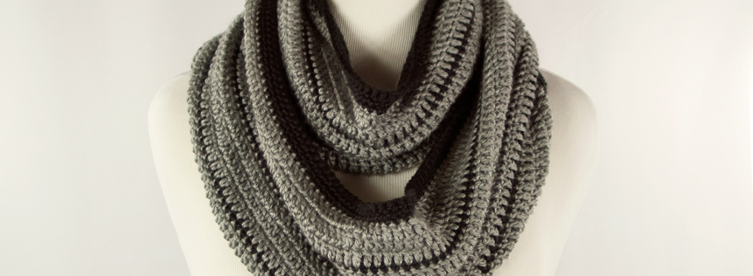 Black Stripe Infinity Scarf | Webster Fiber Arts