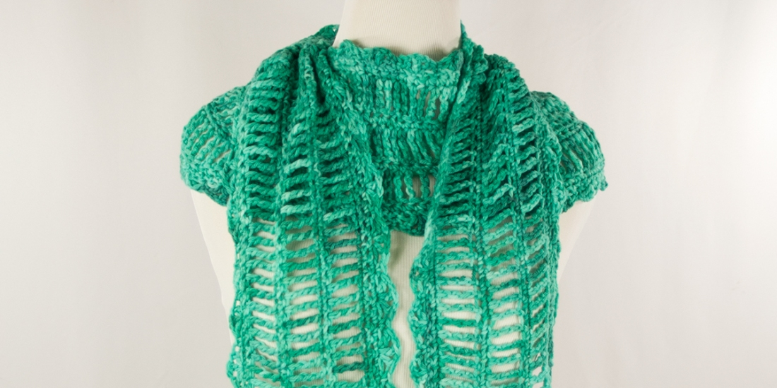 Strumming Teal Scarf | Webster Fiber Arts