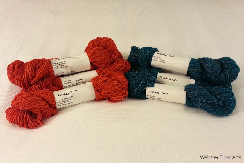 Orange and Turquoise Yarns from Artisanal Yarns | Webster Fiber Arts