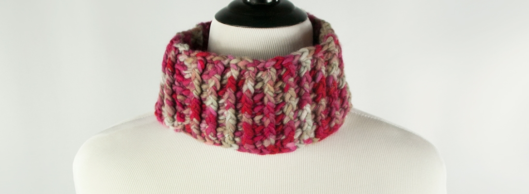 Maroon & Gray Neck Warmer | Webster Fiber Arts