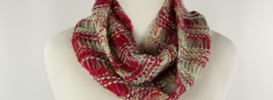 Broken Maroon Infinity Scarf | Webster Fiber Arts
