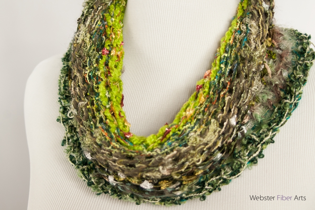 Green Handmade Ribbon Cowl | Webster Fiber Arts