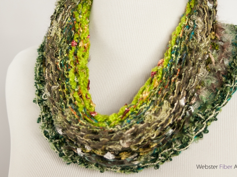 Green Handmade Ribbon Cowl | Webster Fiber Arts