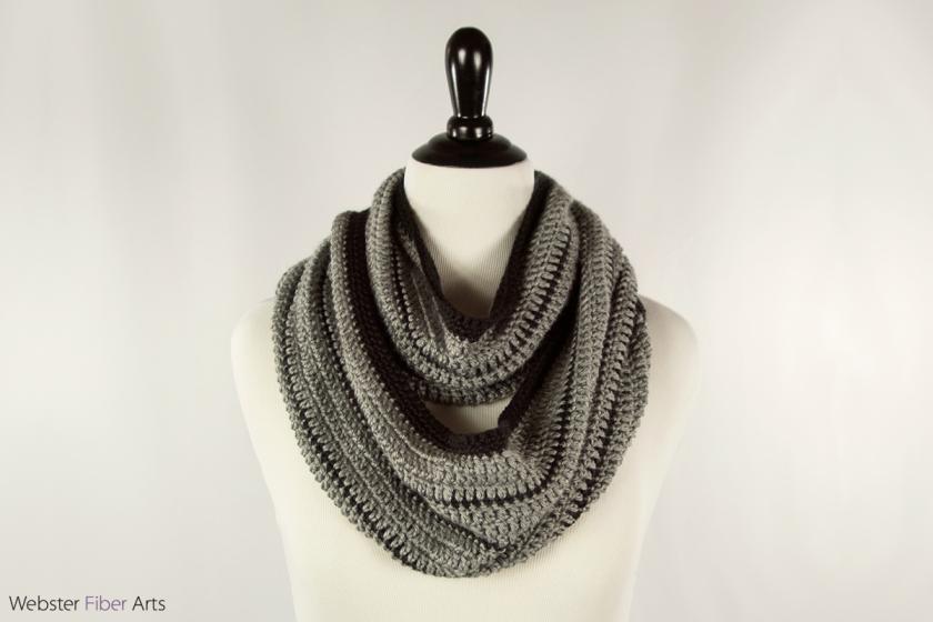 Black Stripe Handmade Infinity Scarf | Webster Fiber Arts | Etsy