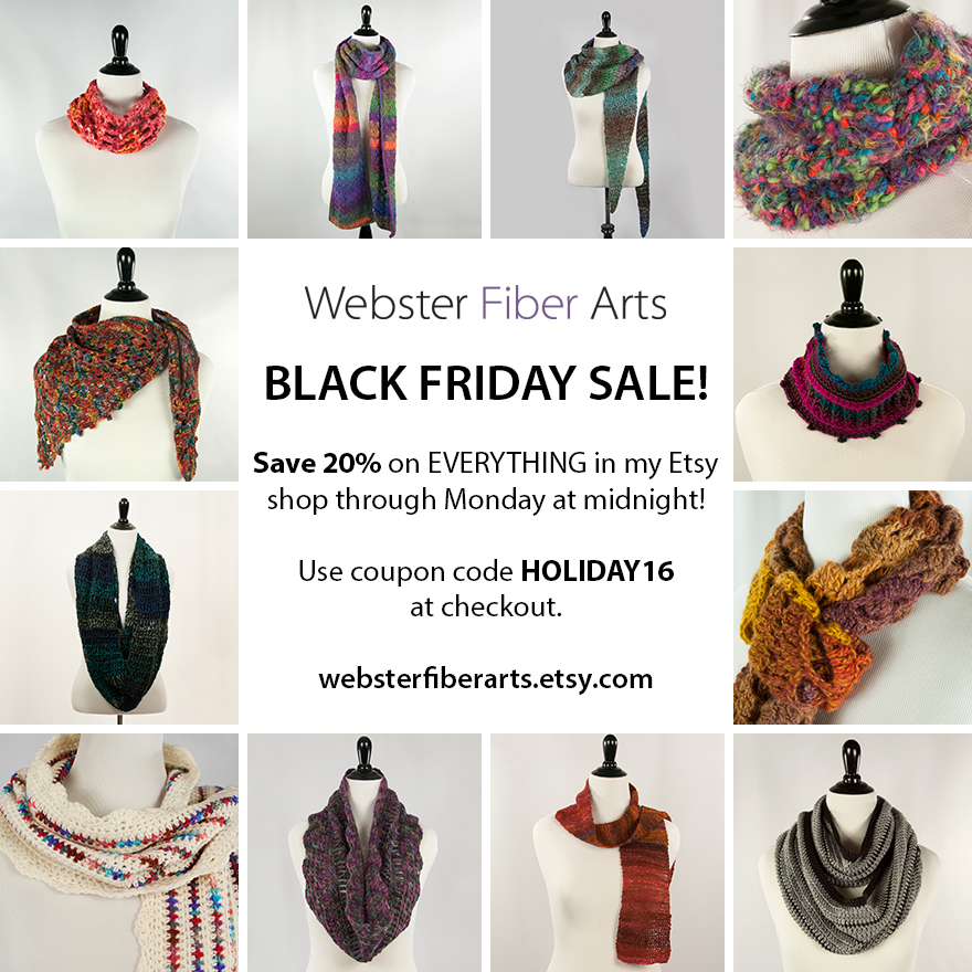 20% Off in my Etsy Shop | Webster Fiber Arts | Code: HOLIDAY16
