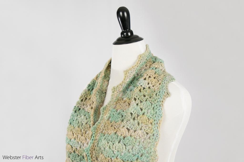 Pastel Shell Handmade Crochet Scarf | Webster Fiber Arts