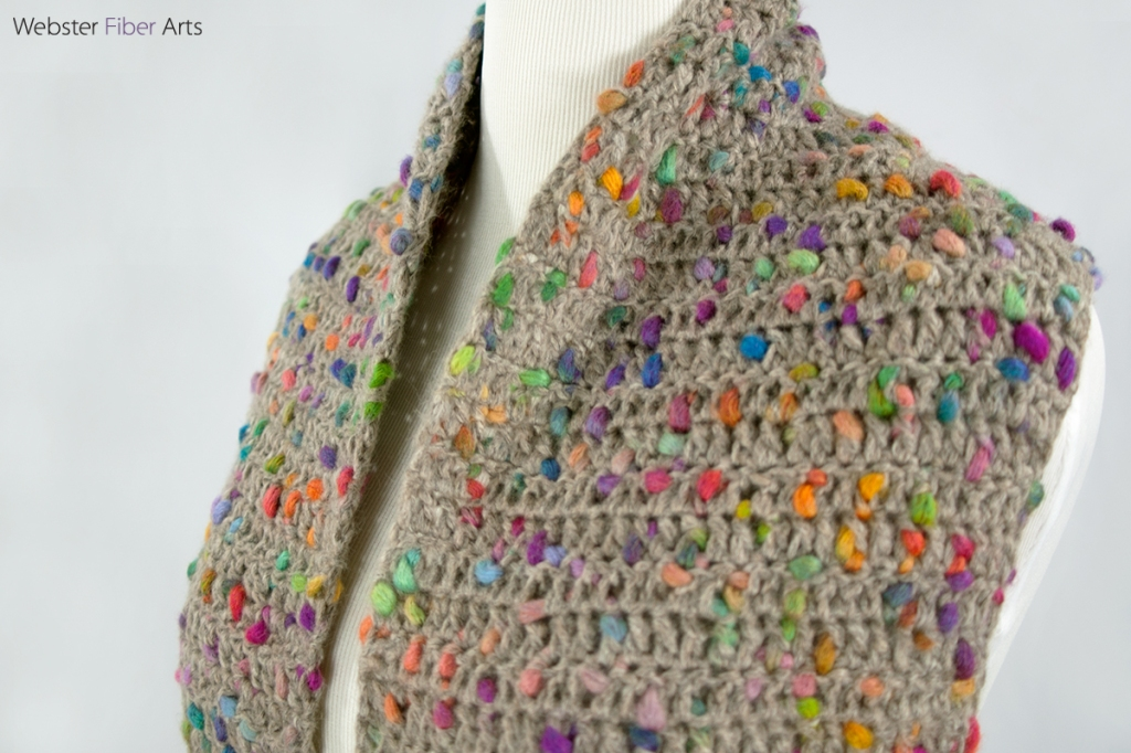 Rainbow Flecks Handmade Crochet Scarf | Webster Fiber Arts
