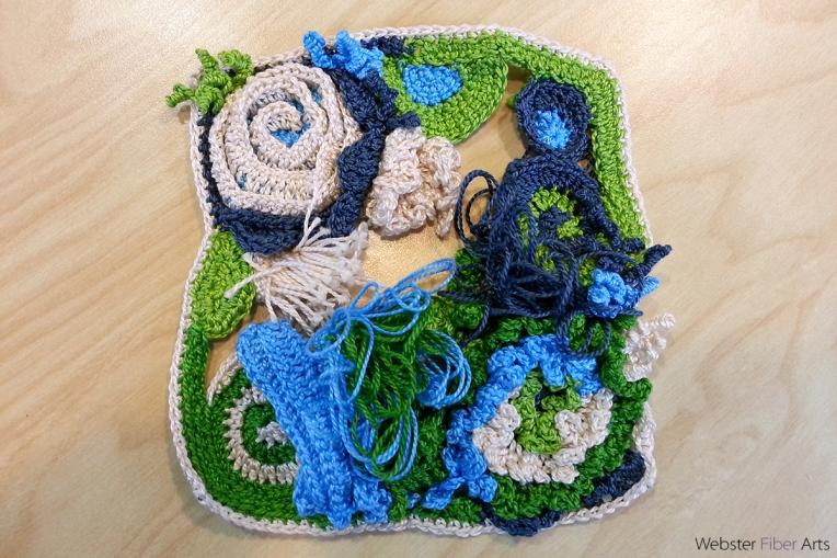 Freeform Pearl Cotton Work In Progress | Annie Webster | Webster Fiber Arts